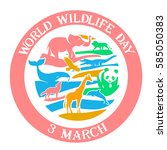 Calendar for each day on March 3. Greeting card. Holiday - World Wildlife Day. Icon in the linear style   Shutterstock vector #585050383