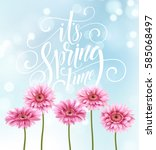 gerbera flower background and... | Shutterstock .eps vector #585068497