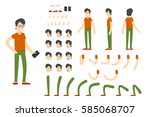 flat character creation set... | Shutterstock .eps vector #585068707