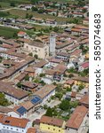 Small photo of Aerial photography of a rural village, in the Pordenone region, northern Italy
