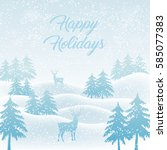 winter christmas landscape... | Shutterstock .eps vector #585077383