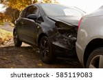 close up of damaged car after... | Shutterstock . vector #585119083