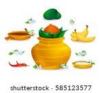 happy ugadi  holiday set ... | Shutterstock .eps vector #585123577