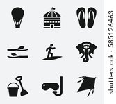 fun icon. set of 9 fun filled... | Shutterstock .eps vector #585126463