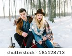 hipster stylishly dressed young ... | Shutterstock . vector #585128713