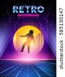 retro 1980's digital neon... | Shutterstock .eps vector #585130147