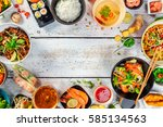 asian food served on white... | Shutterstock . vector #585134563