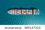 container ship in export and...   Shutterstock . vector #585137323