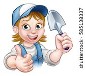 a cartoon gardener holding a...   Shutterstock . vector #585138337