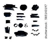 set of artistic black brush... | Shutterstock .eps vector #585143197