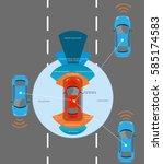 automobile sensors use in self... | Shutterstock .eps vector #585174583