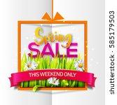 spring sale orange frame with... | Shutterstock .eps vector #585179503