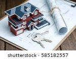 villa house model  key and... | Shutterstock . vector #585182557