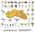 flat 3d isometric africa flora... | Shutterstock .eps vector #585184477