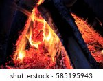 campfire in algonquin... | Shutterstock . vector #585195943