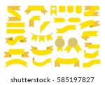 yellow ribbons  set of ribbons  ... | Shutterstock .eps vector #585197827