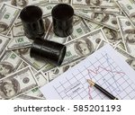 three barrels with oil on the...   Shutterstock . vector #585201193