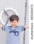 portrait of young sailor boy... | Shutterstock . vector #585206473