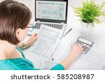 tax return form income... | Shutterstock . vector #585208987