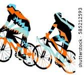 sport road bike riders bicycle... | Shutterstock .eps vector #585212593
