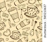 coffee shop seamless pattern....   Shutterstock .eps vector #585213637