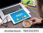 faq's concept on tablet pc... | Shutterstock . vector #585242393