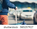 airport taxi. passenger is... | Shutterstock . vector #585257927