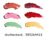 smears of lipstick in different ... | Shutterstock . vector #585264413