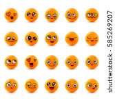 emotions. set of smiley face... | Shutterstock .eps vector #585269207