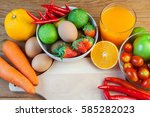 healthy concept with mixed... | Shutterstock . vector #585282023