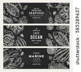 seafood banner template set....   Shutterstock .eps vector #585289637
