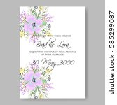 floral wedding invitation | Shutterstock .eps vector #585299087