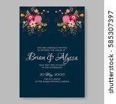 peony floral wedding invitation ... | Shutterstock .eps vector #585307397