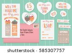 set of wedding card | Shutterstock .eps vector #585307757