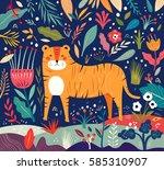 vector illustration with tiger... | Shutterstock .eps vector #585310907