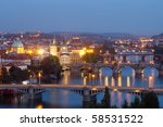 czech republic, prague - bridges over vltava river at dusk - stock photo