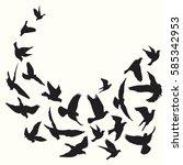 flying birds silhouette vector... | Shutterstock .eps vector #585342953