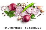 red onions  garlic and various... | Shutterstock . vector #585358313