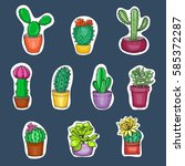 set of hand drawn cactus and... | Shutterstock .eps vector #585372287