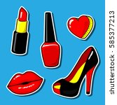 red kiss lips nail polish... | Shutterstock .eps vector #585377213