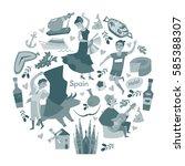 spain  touristic symbols vector.... | Shutterstock .eps vector #585388307