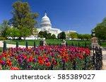 washington dc in springtime  ... | Shutterstock . vector #585389027