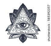 vintage all seeing eye in... | Shutterstock .eps vector #585392357