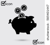 time is money piggy bank icon.... | Shutterstock .eps vector #585401447