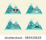 emoticons mountain vector set.... | Shutterstock .eps vector #585410633