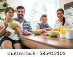 portrait of family having... | Shutterstock . vector #585412103