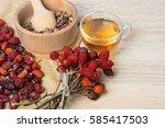 medicinal plants and herbs...   Shutterstock . vector #585417503