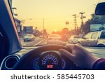 image of people driving car on... | Shutterstock . vector #585445703