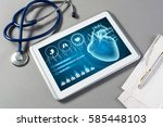 white tablet pc and doctor...   Shutterstock . vector #585448103
