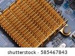 close up of a chipset heatsink...   Shutterstock . vector #585467843